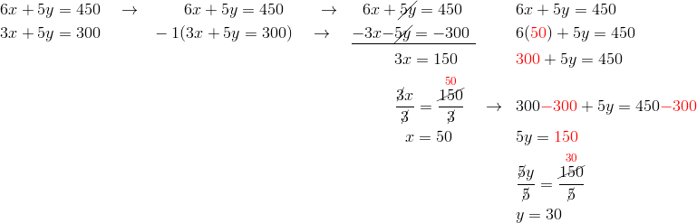 & 6x+5y=450 \quad \rightarrow && \qquad 6x+5y=450 \qquad \rightarrow && \ \ 6x + \cancel{5y}=450 && 6x+5y=450\\& 3x+5y=300 && -1(3x+5y=300) \quad \rightarrow && \underline{-3x{-\cancel{5y}}=-300 \;} && 6({\color{red}50})+5y=450\\& && && \qquad \ \ 3x=150 && {\color{red}300}+5y=450\\& && && \qquad \ \ \frac{\cancel{3}x}{\cancel{3}}=\frac{\overset{{\color{red}50}}{\cancel{150}}}{\cancel{3}} \quad \rightarrow && 300{\color{red}-300}+5y=450{\color{red}-300}\\& && && \qquad \quad \ x=50 && 5y={\color{red}150}\\& && && && \frac{\cancel{5}y}{\cancel{5}}=\frac{\overset{{\color{red}30}}{\cancel{150}}}{\cancel{5}}\\& && && && y=30