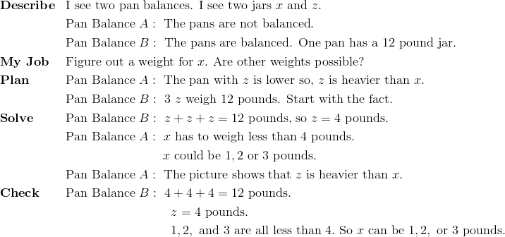 & \mathbf{Describe} && \text{I see two pan balances. I see two jars} \ x \ \text{and} \ z.\\ &&& \text{Pan Balance} \ A: \ \text{The pans are not balanced}.\\ &&& \text{Pan Balance} \ B: \ \text{The pans are balanced. One pan has a} \ 12 \ \text{pound jar}.\\& \mathbf{My \ Job} && \text{Figure out a weight for} \ x. \ \text{Are other weights possible?}\\& \mathbf{Plan} && \text{Pan Balance} \ A: \ \text{The pan with} \ z \ \text{is lower so,} \ z \ \text{is heavier than} \ x.\\&&& \text{Pan Balance} \ B: \ 3 \ z \ \text{weigh} \ 12 \ \text{pounds. Start with the fact.}\\& \mathbf{Solve} && \text{Pan Balance} \ B: \ z + z + z = 12 \ \text{pounds, so} \ z = 4 \ \text{pounds}.\\&&& \text{Pan Balance} \ A: \ x \ \text{has to weigh less than} \ 4 \ \text{pounds}.\\&&& \qquad \qquad \qquad \ \ \ \ \ x \ \text{could be} \ 1, 2 \ \text{or} \ 3 \ \text{pounds}.\\&&& \text{Pan Balance} \ A: \ \text{The picture shows that} \ z \ \text{is heavier than} \ x.\\& \mathbf{Check} && \text{Pan Balance} \ B: \ 4 + 4 + 4 = 12 \ \text{pounds}.\\&&& \qquad \qquad \qquad \qquad  \ z=4 \ \text{pounds}.\\&&& \qquad \qquad \qquad \qquad  \ 1, 2, \ \text{and} \ 3 \ \text{are all less than} \ 4. \ \text{So} \ x \ \text{can be} \ 1, 2, \ \text{or} \ 3 \ \text{pounds}.