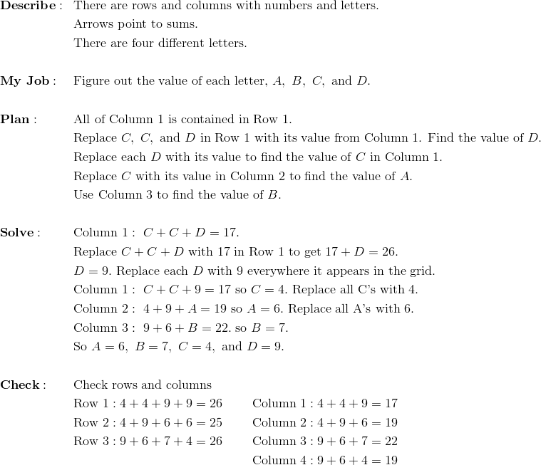 & \mathbf{Describe:} && \text{There are rows and columns with numbers and letters.}\\&&& \text{Arrows point to sums.}\\&&& \text{There are four different letters.}\\\\& \mathbf{My \ Job:} && \text{Figure out the value of each letter,} \ A, \ B, \ C, \ \text{and} \ D.\\\\& \mathbf{Plan:} && \text{All of Column 1 is contained in Row 1.}\\&&& \text{Replace} \ C, \ C, \ \text{and} \ D \ \text{in Row 1 with its value from Column 1. Find the value of} \ D.\\&&& \text{Replace each} \ D \ \text{with its value to find the value of} \ C \ \text{in Column 1.}\\ &&& \text{Replace} \ C \ \text{with its value in Column 2 to find the value of} \ A.\\&&& \text{Use Column 3 to find the value of} \ B. \\\\& \mathbf{Solve:} && \text{Column} \ 1: \ C+C+D=17.\\&&& \text{Replace} \ C+C+D \ \text{with 17 in Row 1 to get} \ 17+D=26.\\&&& D=9. \ \text{Replace each} \ D \ \text{with 9 everywhere it appears in the grid.}\\&&& \text{Column} \ 1: \ C+C+9=17 \ \text{so} \ C=4.\ \text{Replace all C's with 4.}\\&&& \text{Column} \ 2: \ 4+9+A=19 \ \text{so} \ A =6. \ \text{Replace all A's with 6.}\\&&& \text{Column} \ 3: \ 9+6+B=22. \ \text{so} \ B = 7. \\&&& \text{So} \ A =6, \ B =7, \ C = 4, \ \text{and} \ D =9.\\\\& \mathbf{Check:} && \text{Check rows and columns}\\&&& \text{Row} \ 1: 4+4+9+9=26  \qquad \ \text{Column} \ 1: 4+4+9=17\\&&& \text{Row} \ 2: 4+9+6+6=25 \qquad \ \text{Column} \ 2: 4+9+6=19\\&&& \text{Row} \ 3: 9+6+7+4=26 \qquad \ \text{Column} \ 3: 9+6+7=22\\&&& \qquad \qquad \qquad \qquad \qquad \qquad \qquad \text{Column} \ 4: 9+6+4=19