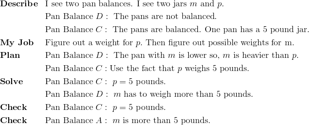 & \mathbf{Describe} && \text{I see two pan balances. I see two jars} \ m \ \text{and} \ p.\\ &&& \text{Pan Balance} \ D: \ \text{The pans are not balanced}.\\ &&& \text{Pan Balance} \ C: \ \text{The pans are balanced. One pan has a} \ 5 \ \text{pound jar}.\\& \mathbf{My \ Job} && \text{Figure out a weight for} \ p. \ \text{Then figure out possible weights for m.}\\& \mathbf{Plan} && \text{Pan Balance} \ D: \ \text{The pan with} \ m \ \text{is lower so,} \ m \ \text{is heavier than} \ p.\\&&& \text{Pan Balance} \ C: \text{Use the fact that} \ p \ \text{weighs} \ 5 \ \text{pounds}.\\& \mathbf{Solve} && \text{Pan Balance} \ C: \ p=5 \ \text{pounds.}\\&&& \text{Pan Balance} \ D: \ m \ \text{has to weigh more than} \ 5 \ \text{pounds}.\\& \mathbf{Check} && \text{Pan Balance} \ C: \ p=5 \ \text{pounds}.\\& \mathbf{Check} && \text{Pan Balance} \ A:   \ m \ \text{is more than 5 pounds.}