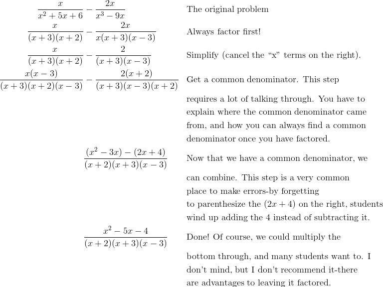\frac{x}{x^2+5x+6} & - \frac{2x}{x^3-9x} && \text{The original problem} \\\frac{x}{(x+3)(x+2)} & - \frac{2x}{x(x+3)(x-3)} && \text{Always factor first!}\\\frac{x}{(x+3)(x+2)} & - \frac{2}{(x+3)(x-3)} && \text{Simplify (cancel the ``x'' terms on the right)}.\\\frac{x(x-3)}{(x+3)(x+2)(x-3)} & - \frac{2(x+2)}{(x+3)(x-3)(x+2)} && \text{Get a common denominator.  This step}\\&& &\text{requires a lot of talking through.  You have to}\\ && &\text{explain where the common denominator came}\\&& &\text{from, and how you can always find a common}\\ && & \text{denominator once you have factored.}\\& \frac{(x^2-3x)-(2x+4)}{(x+2)(x+3)(x-3)} && \text{Now that we have a common denominator, we}\\&& &\text{can combine. This step is a very common}\\&& &\text{place to make errors-by forgetting}\\&& &\text{to parenthesize the} \ (2x+4) \ \text{on the right, students}\\&& &\text{wind up adding the} \ 4 \ \text{instead of subtracting it.}\\& \frac{x^2-5x-4}{(x+2)(x+3)(x-3)}&& \text{Done! Of course, we could multiply the}\\&& &\text{bottom through, and many students want to. I}\\&& &\text{don't mind, but I don't recommend it-there}\\&& &\text{are advantages to leaving it factored.}