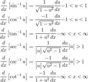 \frac {d}{dx} \left [ {\sin^{-1}{u}} \right ] & = \frac {1}{\sqrt {1-u^2}} \frac {du}{dx}   {-1 < u < 1} \\\frac {d}{dx} \left [ {\cos^{-1}{u}} \right ] & = \frac {-1}{\sqrt {1-u^2}} \frac {du}{dx}   {-1 < u < 1} \\\frac {d}{dx} \left [ {\tan^{-1}{u}} \right ] & = \frac {1}{1+u^2} \frac {du}{dx}  {- \infty < x < \infty}   \\\frac {d}{dx} \left [ {\sec^{-1}{u}} \right ] & = \frac {1}{\begin{vmatrix}{u} \end{vmatrix} \sqrt {u^2-1}}  \frac {du}{dx} {\begin{vmatrix}{u} \end{vmatrix}} > 1  \\\frac {d}{dx} \left [ {\csc^{-1}{u}} \right ] & = \frac {-1}{\begin{vmatrix}{u} \end{vmatrix} \sqrt {u^2-1}} \frac {du}{dx} {\begin{vmatrix}{u} \end{vmatrix}} > 1  \\\frac {d}{dx} \left [ {\cot^{-1}{u}} \right ] & = \frac {-1}{1+u^2} \frac {du}{dx}   {- \infty < x < \infty}