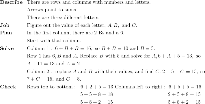 & \mathbf{Describe} && \text{There are rows and columns with numbers and letters.}\!\\ &&& \text{Arrows point to sums}.\!\\ &&& \text{There are three different letters}.\!\\& \mathbf{Job} && \text{Figure out the value of each letter,} \ A, B, \ \text{and} \ C.\!\\& \mathbf{Plan} && \text{In the first column, there are} \ 2 \ \text{Bs and a} \ 6.\!\\&&& \text{Start with that column.}\!\\& \mathbf{Solve} && \text{Column} \ 1: \ 6 + B + B = 16, \ \text{so} \ B + B = 10 \ \text{and} \ B = 5.\!\\&&& \text{Row} \ 1 \ \text{has} \ 6, B \ \text{and} \ A. \ \text{Replace} \ B \ \text{with} \ 5 \ \text{and solve for} \ A, 6 + A + 5 = 13, \ \text{so} \!\\&&& A + 11 =13 \ \text{and} \ A = 2.\!\\&&& \text{Column} \ 2: \ \text{replace} \ A \ \text{and} \ B \ \text{with their values, and find} \ C. \ 2 + 5 + C = 15, \ \text{so} \!\\&&&  7 + C=15, \ \text{and} \ C = 8.\!\\& \mathbf{Check} && \text{Rows top to bottom}: \ \ 6 + 2 + 5 = 13 \ \text{Columns left to right}: \ 6 + 5 + 5 = 16\!\\&&& \qquad \qquad \qquad \qquad \qquad \ 5 + 5 + 8 = 18 \qquad \qquad \qquad \qquad \qquad \ \ 2 + 5 + 8 = 15\!\\&&& \qquad \qquad \qquad \qquad \qquad \ 5 + 8 + 2 = 15 \qquad \qquad \qquad \qquad \qquad \ \ 5 + 8 + 2 = 15