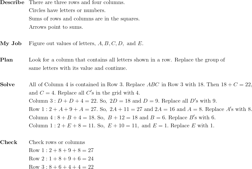 &\mathbf{Describe} && \text{There are three rows and four columns.}\\&&& \text{Circles have letters or numbers.}\\&&& \text{Sums of rows and columns are in the squares.}\\&&& \text{Arrows point to sums.}\\\\& \mathbf{My \ Job} && \text{Figure out values of letters,} \ A, B, C, D, \ \text{and} \ E.\\\\&\mathbf{Plan} && \text{Look for a column that contains all letters shown in a row. Replace the group of}\\&&& \text{same letters with its value and continue.}\\\\&\mathbf{Solve} && \text{All of Column} \ 4 \ \text{is contained in Row} \ 3. \ \text{Replace} \ ABC \ \text{in Row} \ 3 \ \text{with} \ 18. \ \text{Then} \ 18 + C = 22,\\&&& \text{and} \ C = 4. \ \text{Replace all} \ C' \text{s in the grid with} \ 4.\\&&& \text{Column} \ 3: D + D + 4 = 22. \ \text{So}, \ 2D = 18 \ \text{and} \ D = 9. \ \text{Replace all} \ D' \text{s with} \ 9.\\&&& \text{Row} \ 1: 2 + A + 9 + A = 27. \ \text{So}, \ 2A + 11 = 27 \ \text{and} \ 2A = 16 \ \text{and} \ A = 8. \ \text{Replace} \ A' \text{s with} \ 8.\\&&& \text{Column} \ 4: 8 + B + 4 = 18. \ \text{So}, \ B + 12 = 18 \ \text{and} \ B = 6. \ \text{Replace} \ B'\text{s with} \ 6.\\&&& \text{Column} \ 1: 2 + E + 8 = 11. \ \text{So}, \ E + 10 = 11, \ \text{and} \ E = 1. \ \text{Replace} \ E \ \text{with} \ 1.\\\\&\mathbf{Check} && \text{Check rows or columns}\\&&& \text{Row} \ 1: 2 + 8 + 9 + 8 = 27\\&&& \text{Row} \ 2: 1 + 8 + 9 + 6 = 24\\&&& \text{Row} \ 3: 8 + 6 + 4 + 4 = 22