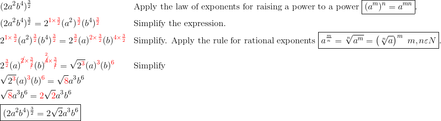 & (2a^2b^4)^{\frac{3}{2}} && \text{Apply the law of exponents for raising a power to a power} \ \boxed{(a^m)^n=a^{mn}}.\\& (2a^2b^4)^{\frac{3}{2}}=2^{{\color{red}1 \times \frac{3}{2}}}(a^2)^{{\color{red}\frac{3}{2}}}(b^4)^{{\color{red}\frac{3}{2}}} && \text{Simplify the expression}.\\& 2^{{\color{red}1 \times \frac{3}{2}}} (a^2)^{{\color{red}\frac{3}{2}}} (b^4)^{{\color{red}\frac{3}{2}}}=2^{{\color{red}\frac{3}{2}}}(a)^{{\color{red}2 \times \frac{3}{2}}}(b)^{{\color{red}4 \times \frac{3}{2}}} && \text{Simplify. Apply the rule for rational exponents} \ \boxed{a^{\frac{m}{n}}=\sqrt[n]{a^m}=\left(\sqrt[n]{a}\right)^m \ m,n \varepsilon N}.\\& 2^{\color{red}\frac{3}{2}}(a)^{{\color{red}\cancel{2} \times \frac{3}{\cancel{2}}}} (b)^{{\color{red}\overset{2}{\cancel{4}} \times \frac{3}{\cancel{2}}}}=\sqrt{2^{{\color{red}3}}} (a)^{\color{red}3}(b)^{\color{red}6} &&  \text{Simplify}\\& \sqrt{2^{\color{red}3}}(a)^{\color{red}3}(b)^{\color{red}6}=\sqrt{{\color{red}8}}a^3b^6\\& \sqrt{{\color{red}8}}a^3b^6={\color{red}2} \sqrt{{\color{red}2}} a^3b^6\\& \boxed{(2a^2b^4)^{\frac{3}{2}}=2 \sqrt{2}a^3b^6}