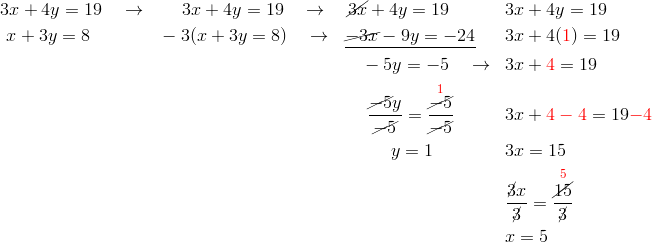 &3x+4y=19 \quad \rightarrow && \quad \ 3x+4y=19 \quad \rightarrow \quad \cancel{3x}+4y=19 && 3x+4y=19\\& \ x+3y=8 && -3(x+3y=8) \quad \rightarrow  \ \ \underline{\cancel{-3x}-9y=-24} && 3x+4({\color{red}1})=19\\& && \qquad \qquad \qquad \qquad \qquad \quad \ -5y=-5 \quad \rightarrow && 3x+{\color{red}4}=19\\& && \qquad \qquad \qquad \qquad \qquad \quad \ \ \frac{\cancel{-5}y}{\cancel{-5}}=\frac{\overset{{\color{red}1}}{\cancel{-5}}}{\cancel{-5}} && 3x+{\color{red}4-4}=19{\color{red}-4}\\& && \qquad \qquad \qquad \qquad \qquad \qquad \quad y=1 && 3x=15\\& && && \frac{\cancel{3}x}{\cancel{3}}=\frac{\overset{{\color{red}5}}{\cancel{15}}}{\cancel{3}}\\& && && x=5