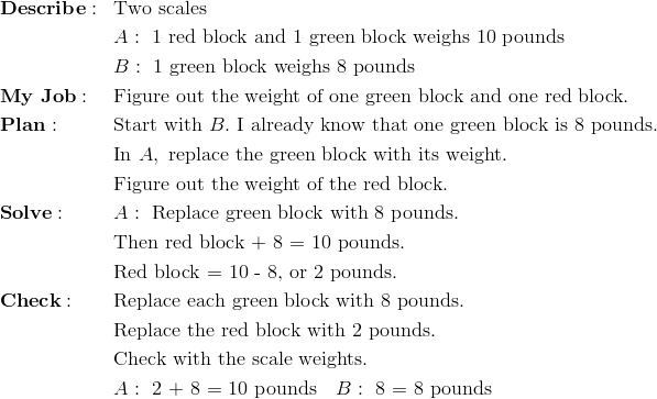 & \mathbf{Describe:} && \text{Two scales}\\&&& A: \ \text{1 red block and 1 green block weighs 10 pounds}\\&&& B: \ \text{1 green block weighs 8 pounds}\\& \mathbf{My \ Job:} && \text{Figure out the weight of one green block and one red block.}\\& \mathbf{Plan:} && \text{Start with} \ B. \ \text{I already know that one green block is 8 pounds.}\\&&& \text{In} \ A, \ \text{replace the green block with its weight.}\\&&& \text{Figure out the weight of the red block.}\\& \mathbf{Solve:} && A: \ \text{Replace green block with 8 pounds.}\\&&& \text{Then red block + 8 = 10 pounds.}\\&&& \text{Red block = 10 - 8, or 2 pounds.}\\& \mathbf{Check:} && \text{Replace each green block with 8 pounds.}\\&&& \text{Replace the red block with 2 pounds.}\\&&& \text{Check with the scale weights.}\\&&& A: \ \text{2 + 8 = 10 pounds} \quad B: \ \text{8 = 8 pounds}