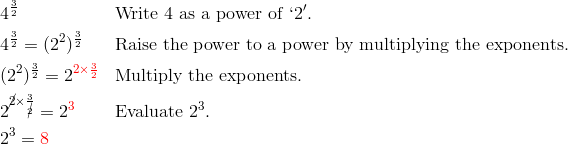 & 4^{\frac{3}{2}} && \text{Write} \ 4 \ \text{as a power of} \ `2'.\\& 4^{\frac{3}{2}}=(2^2)^\frac{3}{2} && \text{Raise the power to a power by multiplying the exponents.}\\& (2^2)^{\frac{3}{2}}=2^{{\color{red}2 \times \frac{3}{2}}} && \text{Multiply the exponents.}\\& 2^{\cancel{2} \times \frac{3}{\cancel{2}}}=2^{\color{red}3} && \text{Evaluate} \ 2^3.\\& 2^3={\color{red}8}