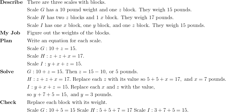 & \mathbf{Describe} && \text{There are three scales with blocks. }\!\\&&& \text{Scale} \ G \ \text{has a} \ 10 \ \text{pound weight and one} \ z \ \text{block. They weigh} \ 15 \ \text{pounds.}\!\\&&& \text{Scale} \ H \ \text{has two} \ z \ \text{blocks and} \ 1 \ x \ \text{block. They weigh} \ 17 \ \text{pounds.}\!\\&&& \text{Scale} \ I \ \text{has one} \ x \ \text{block, one} \ y \ \text{block, and one} \ z \ \text{block. They weigh} \ 15 \ \text{pounds.}\!\\& \mathbf{My \ Job} && \text{Figure out the weights of the blocks.}\!\\& \mathbf{Plan} && \text{Write an equation for each scale.}\!\\&&& \text{Scale} \ G: 10+z=15.\!\\  &&& \text{Scale} \ H: z+z+x=17.\!\\&&& \text{Scale} \ I: y+x+z=15.\!\\& \mathbf{Solve} && G: 10+z=15. \ \text{Then} \ z = 15 - 10, \ \text{or} \ 5 \ \text{pounds.}\!\\ &&& H: z+z+x=17. \ \text{Replace each} \ z \ \text{with its value so} \ 5+5+x=17, \ \text{and} \ x = 7 \ \text{pounds.}\!\\ &&& I: y+x+z=15. \ \text{Replace each} \ x \ \text{and} \ z \ \text{with the value,}\!\\&&& \text{so} \ y+7+5=15, \ \text{and} \ y = 3 \ \text{pounds.}\!\\& \mathbf{Check} && \text{Replace each block with its weight.}\!\\ &&& \text{Scale} \ G: 10+5=15 \ \text{Scale} \ H: 5+5+7=17 \ \text{Scale} \ I: 3+7+5=15.