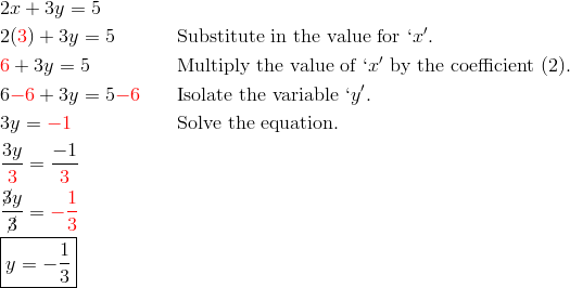& 2x+3y = 5\\& 2({\color{red}3})+3y = 5 && \text{Substitute in the value for} \ `x'.\\& {\color{red}6}+3y = 5 && \text{Multiply the value of} \ `x' \ \text{by the coefficient} \ (2).\\& 6 {\color{red}-6}+3y = 5 {\color{red}-6} && \text{Isolate the variable} \ `y'.\\& 3y = {\color{red}-1} && \text{Solve the equation.}\\& \frac{3y}{{\color{red}3}} = \frac{-1}{{\color{red}3}}\\& \frac{\cancel{3}y}{\cancel{3}} = {\color{red}-\frac{1}{3}}\\& \boxed{y = -\frac{1}{3}}