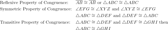 &\text{Reflexive Property of Congruence:} && \overline{AB} \cong \overline{AB} \ \text{or} \ \triangle ABC \cong \triangle ABC\\&\text{Symmetric Property of Congruence:} && \angle{EFG} \cong \angle{XYZ} \ \text{and} \ \angle{XYZ} \cong \angle{EFG}\\&&& \triangle ABC \cong \triangle DEF \ \text{and} \ \triangle DEF \cong \triangle ABC\\&\text{Transitive Property of Congruence:} && \triangle ABC \cong \triangle DEF \ \text{and} \ \triangle DEF \cong \triangle GHI \ \text{then} \\&&&\triangle ABC \cong \triangle GHI