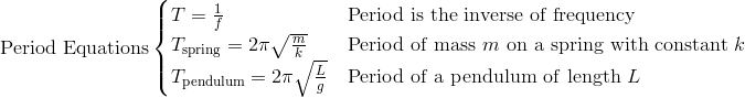 \mathrm{Period~Equations}\begin{cases}T = \frac{1}{f} & \mathrm{Period~is~the~inverse~of~frequency}\\T_{\mathrm{spring}} = 2\pi\sqrt{\frac{m}{k}} & \mathrm{Period~of~mass~} m \mathrm{~on~a~spring~with~constant~} k\\T_{\mathrm{pendulum}} = 2\pi\sqrt{\frac{L}{g}} & \mathrm{Period~of~a~pendulum~of~length~} L\end{cases}