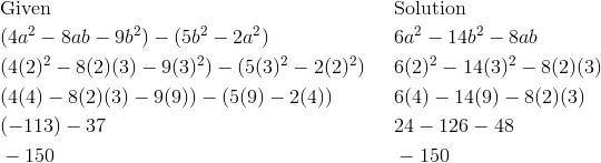 & \text{Given} && \text{Solution}\\& (4a^2-8ab-9b^2)-(5b^2-2a^2) && 6a^2-14b^2-8ab\\& (4(2)^2-8(2)(3)-9(3)^2)-(5(3)^2-2(2)^2) && 6(2)^2-14(3)^2-8(2)(3)\\& (4(4)-8(2)(3)-9(9))-(5(9)-2(4)) && 6(4)-14(9)-8(2)(3)\\& (-113)-37 && 24-126-48\\& -150 && -150