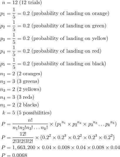 n & = 12 \ (12 \ \text{trials})\\p_1 & = \frac{1}{5} = 0.2 \ (\text{probability of landing on orange})\\p_2 & = \frac{1}{5} = 0.2 \ (\text{probability of landing on green})\\p_3 & = \frac{1}{5} = 0.2 \ (\text{probability of landing on yellow})\\p_4 & = \frac{1}{5} = 0.2 \ (\text{probability of landing on red})\\p_5 & = \frac{1}{5} = 0.2 \ (\text{probability of landing on black})\\n_1 & = 2 \ (2 \ \text{oranges})\\n_2 & = 3 \ (3 \ \text{greens})\\n_3 & = 2 \ (2 \ \text{yellows})\\n_4 & = 3 \ (3 \ \text{reds})\\n_5 & = 2 \ (2 \ \text{blacks})\\k & = 5 \ (\text{5 possibilities})\\P & = \frac{n!}{n_1!n_2!n_3! \ldots n_k!} \times (p_1{^{n_1}} \times p_2{^{n_2}} \times p_3{^{n_3}} \ldots p_k{^{n_k}})\\P & = \frac{12!}{2!3!2!3!2!} \times (0.2^2 \times 0.2^3 \times 0.2^2 \times 0.2^3 \times 0.2^2)\\P & = 1,663,200 \times 0.04 \times 0.008 \times 0.04 \times 0.008 \times 0.04\\P & = 0.0068